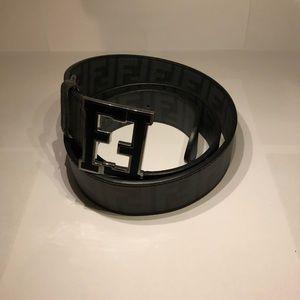 Fendi Gray Zucca College Belt